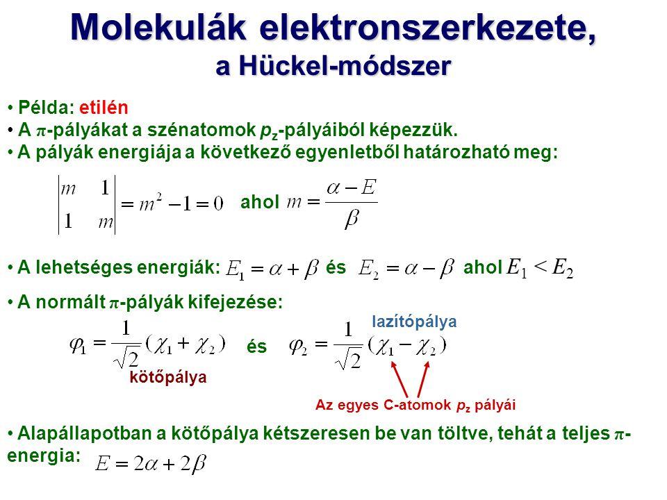 Molekulák elektronszerkezete, Az egyes C-atomok pz pályái