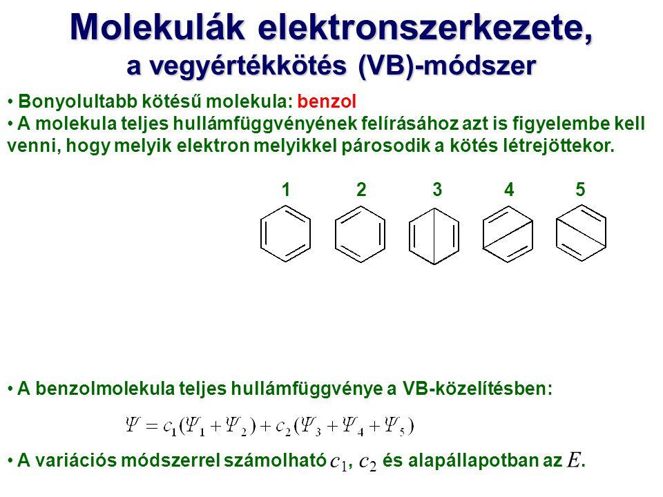 Molekulák elektronszerkezete, a vegyértékkötés (VB)-módszer