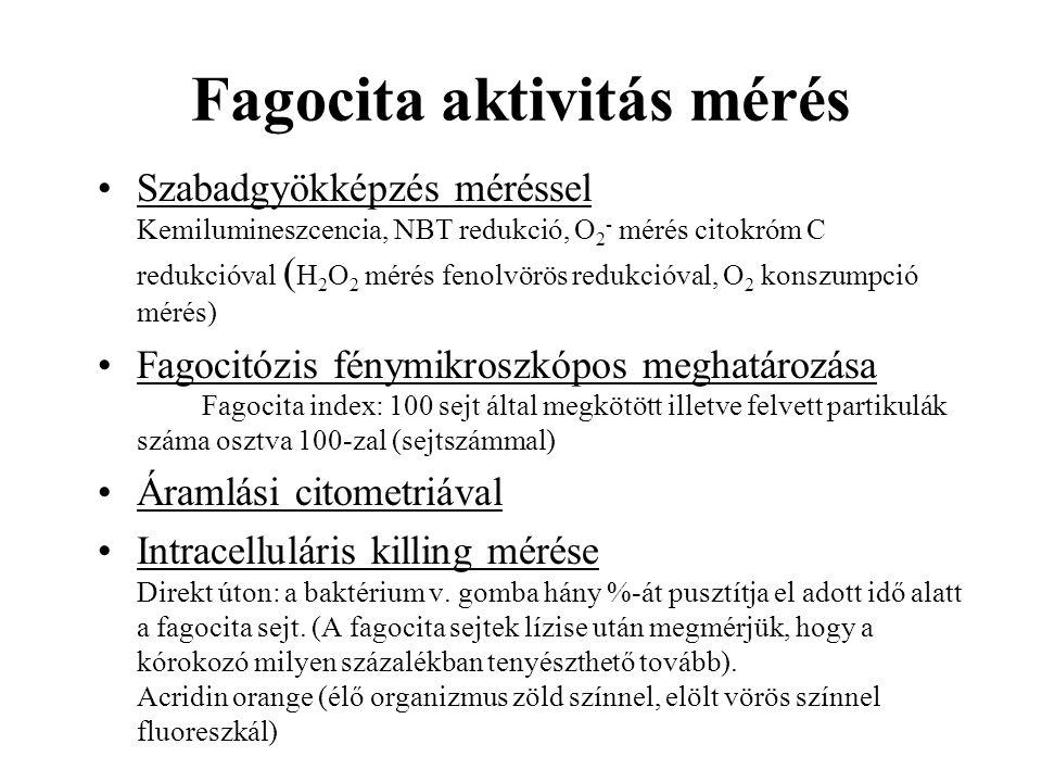 Fagocita aktivitás mérés