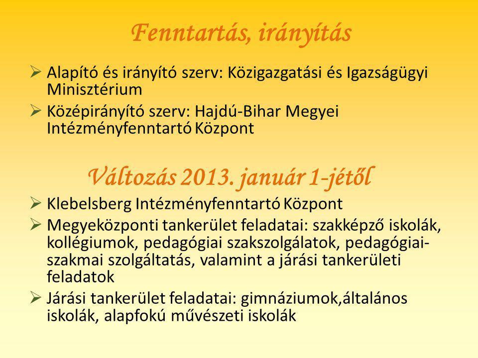 Fenntartás, irányítás Alapító és irányító szerv: Közigazgatási és Igazságügyi Minisztérium.
