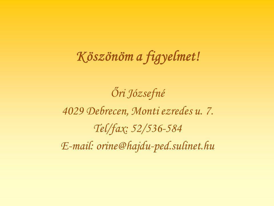 Köszönöm a figyelmet! Őri Józsefné 4029 Debrecen, Monti ezredes u. 7.
