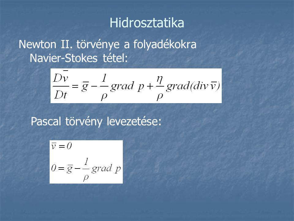 Hidrosztatika Newton II. törvénye a folyadékokra Navier-Stokes tétel: