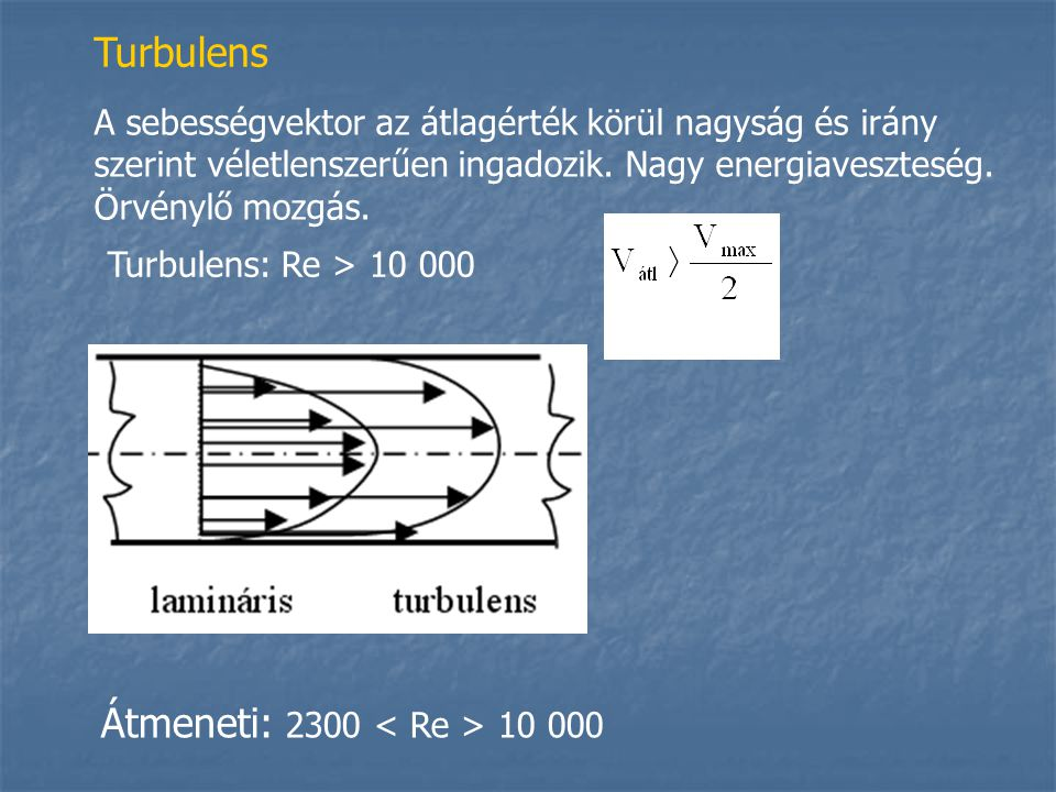 Turbulens Átmeneti: 2300 < Re > 10 000
