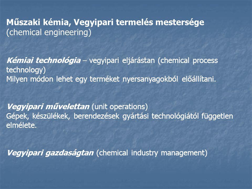 Műszaki kémia, Vegyipari termelés mestersége (chemical engineering)