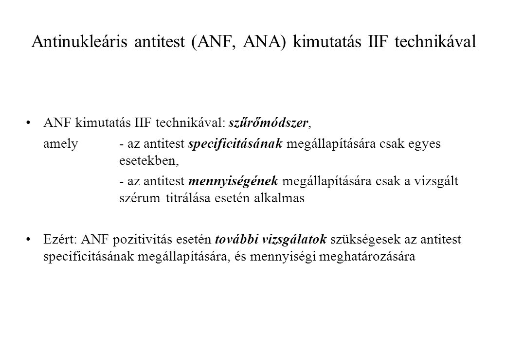 Antinukleáris antitest (ANF, ANA) kimutatás IIF technikával