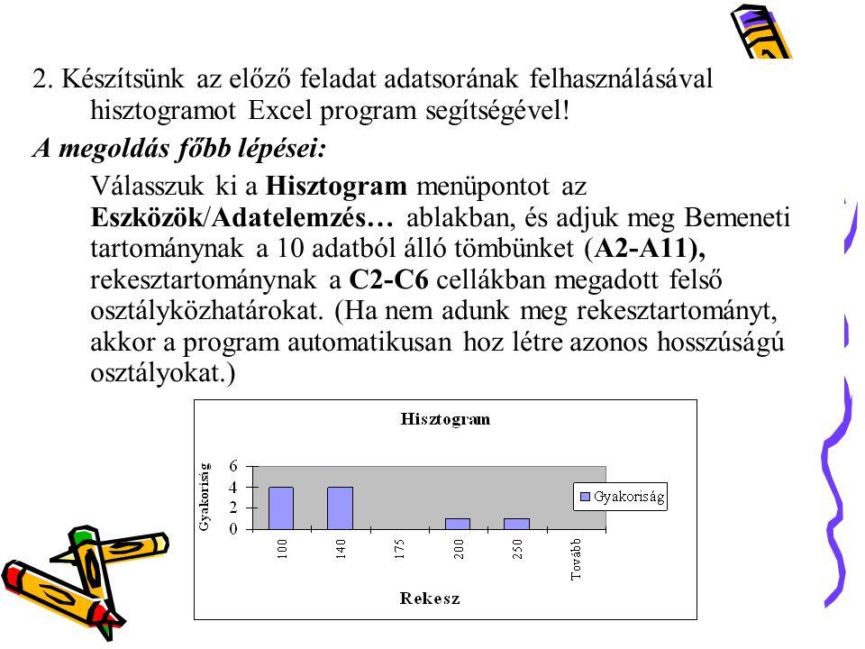 2. Készítsünk az előző feladat adatsorának felhasználásával hisztogramot Excel program segítségével!