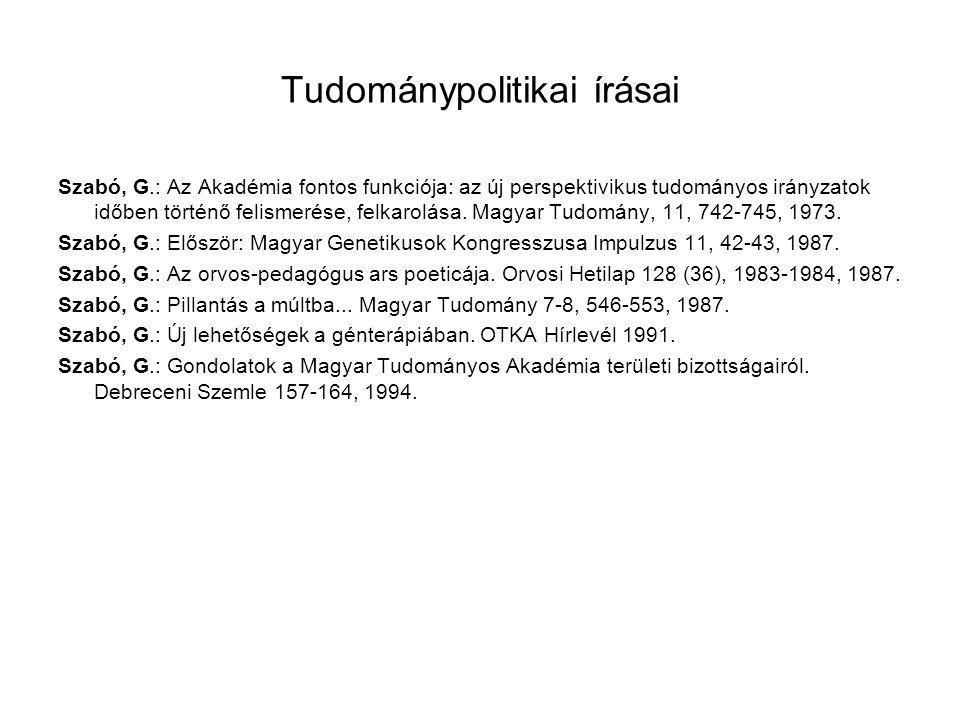 Tudománypolitikai írásai