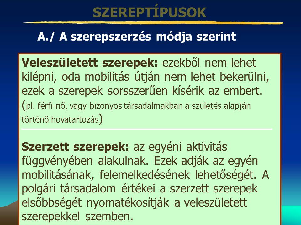 SZEREPTÍPUSOK A./ A szerepszerzés módja szerint