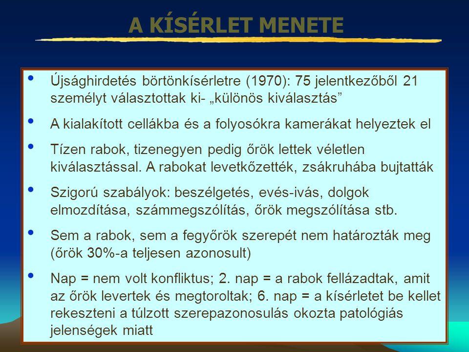 """A KÍSÉRLET MENETE Újsághirdetés börtönkísérletre (1970): 75 jelentkezőből 21 személyt választottak ki- """"különös kiválasztás"""