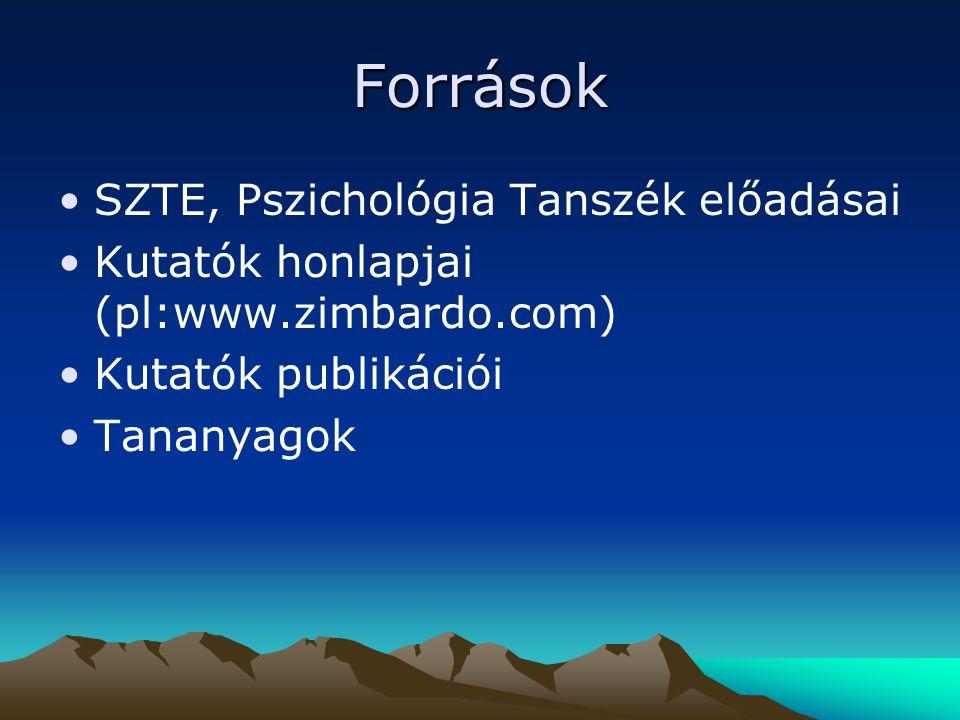 Források SZTE, Pszichológia Tanszék előadásai
