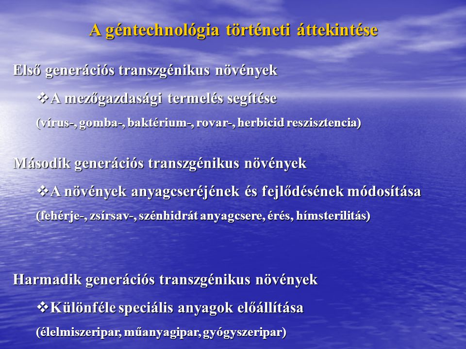 A géntechnológia történeti áttekintése