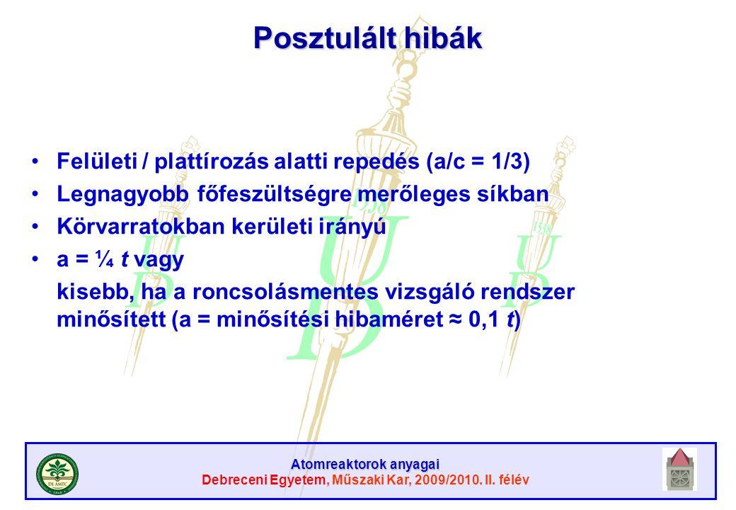 Posztulált hibák Felületi / plattírozás alatti repedés (a/c = 1/3)