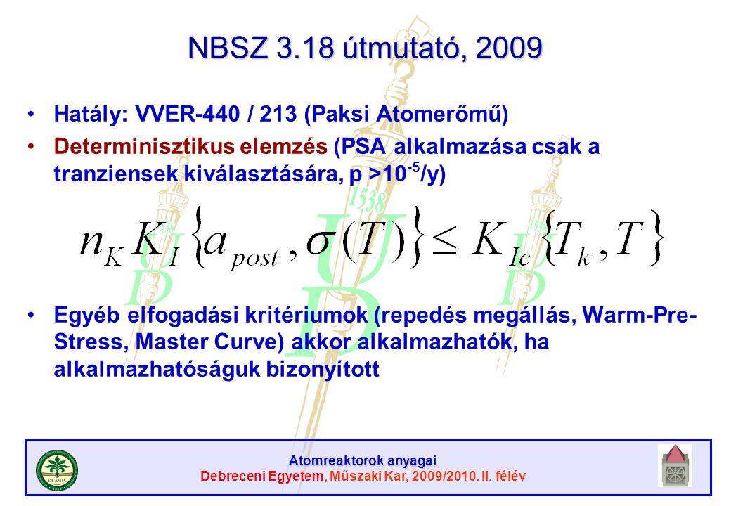 NBSZ 3.18 útmutató, 2009 Hatály: VVER-440 / 213 (Paksi Atomerőmű)