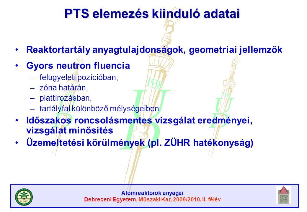 PTS elemezés kiinduló adatai