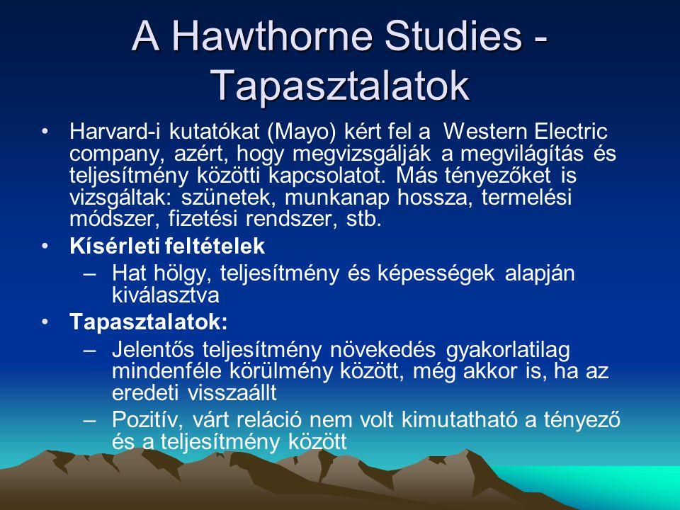 A Hawthorne Studies - Tapasztalatok