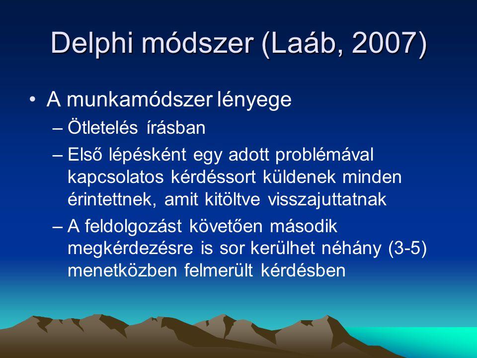 Delphi módszer (Laáb, 2007) A munkamódszer lényege Ötletelés írásban