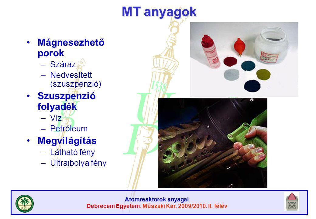 MT anyagok Mágnesezhető porok Szuszpenzió folyadék Megvilágítás Száraz