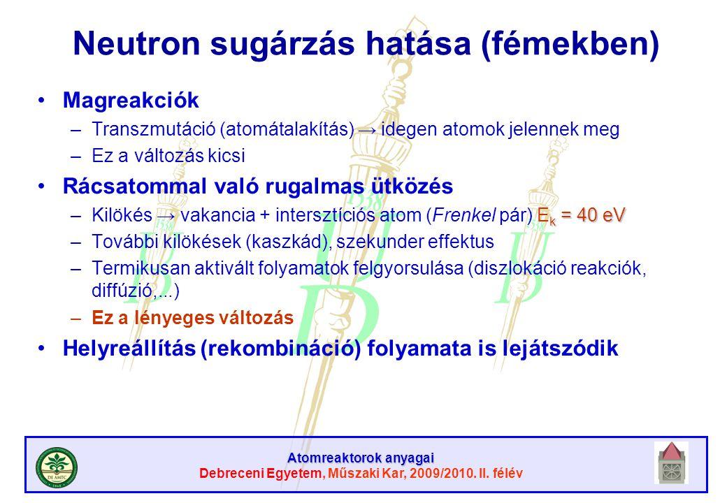 Neutron sugárzás hatása (fémekben)