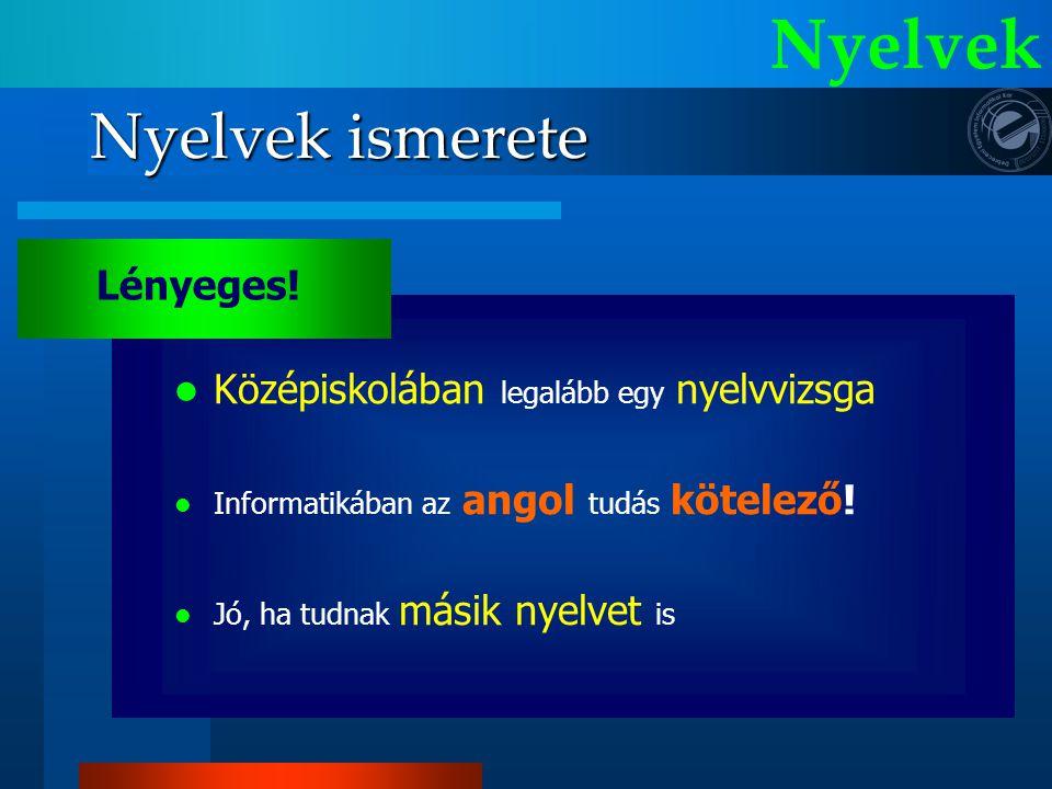 Nyelvek Nyelvek ismerete Lényeges!