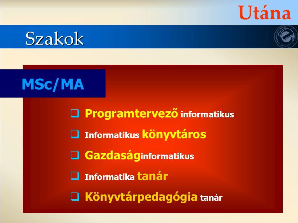 Utána Szakok MSc/MA Programtervező informatikus