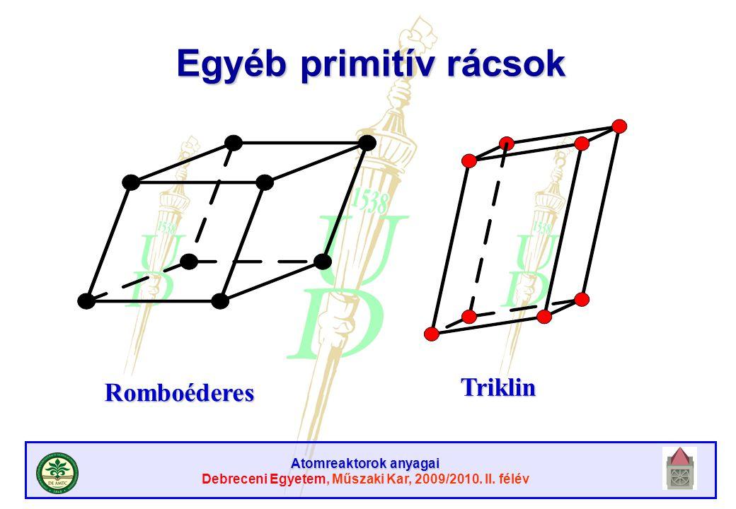 Egyéb primitív rácsok Triklin Romboéderes