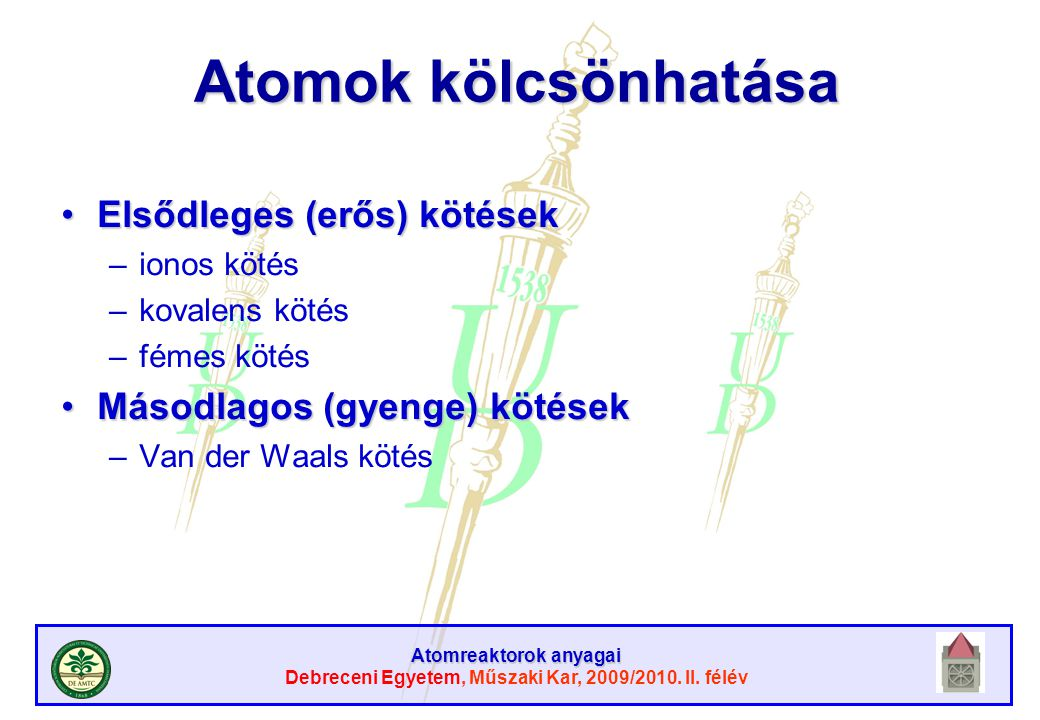 Atomok kölcsönhatása Elsődleges (erős) kötések