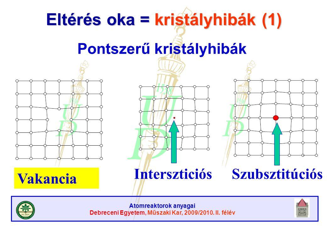 Eltérés oka = kristályhibák (1)