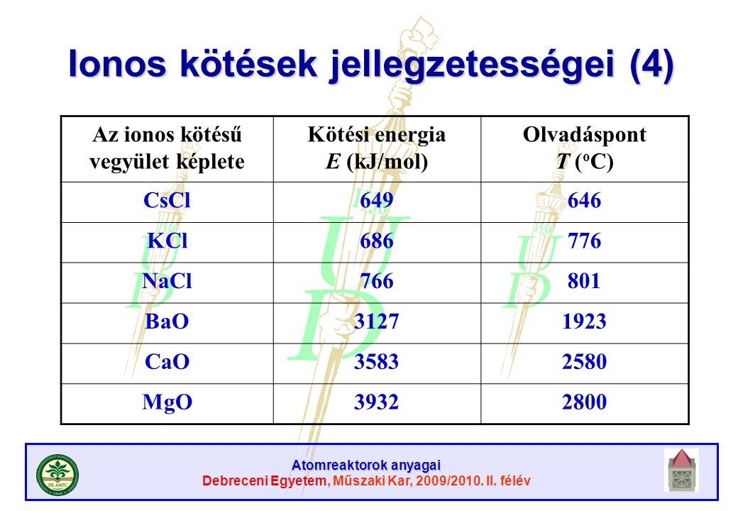 Ionos kötések jellegzetességei (4)