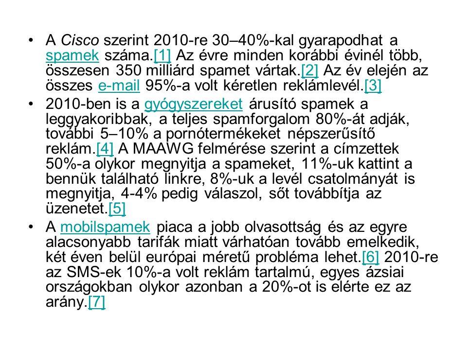 A Cisco szerint 2010-re 30–40%-kal gyarapodhat a spamek száma