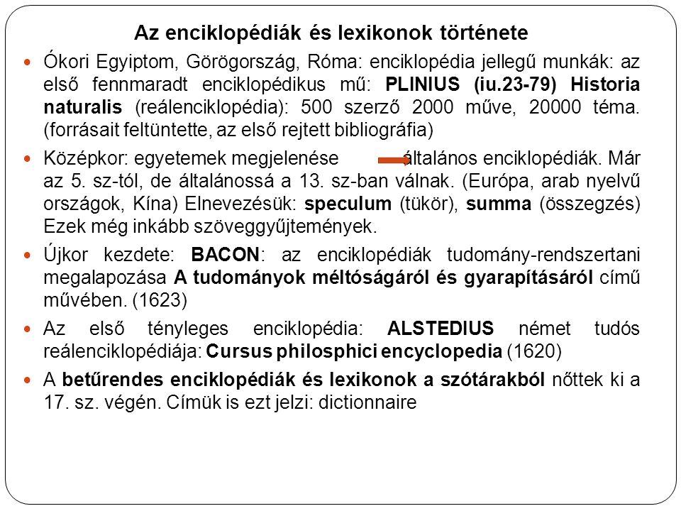 Az enciklopédiák és lexikonok története