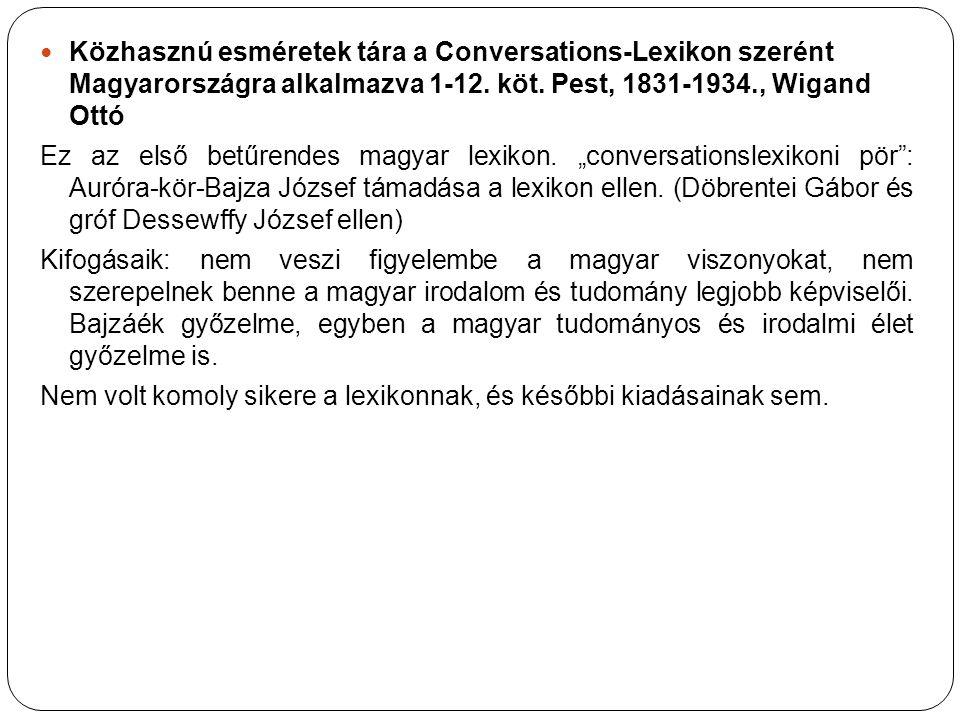Közhasznú esméretek tára a Conversations-Lexikon szerént Magyarországra alkalmazva 1-12. köt. Pest, 1831-1934., Wigand Ottó