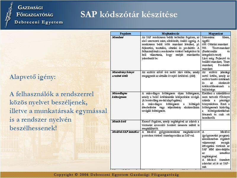 SAP kódszótár készítése