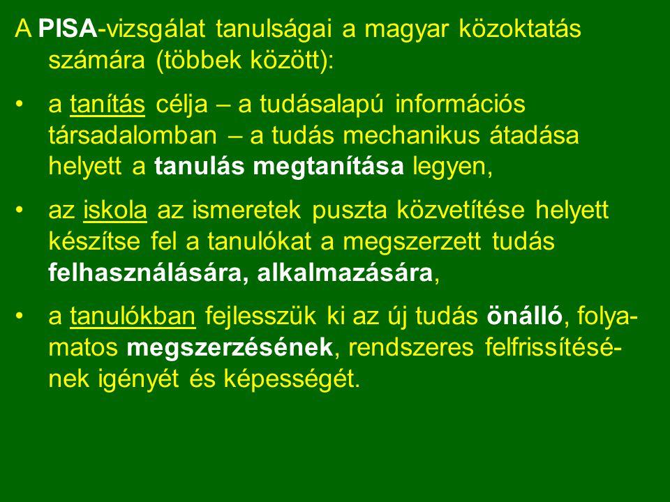 A PISA-vizsgálat tanulságai a magyar közoktatás számára (többek között):
