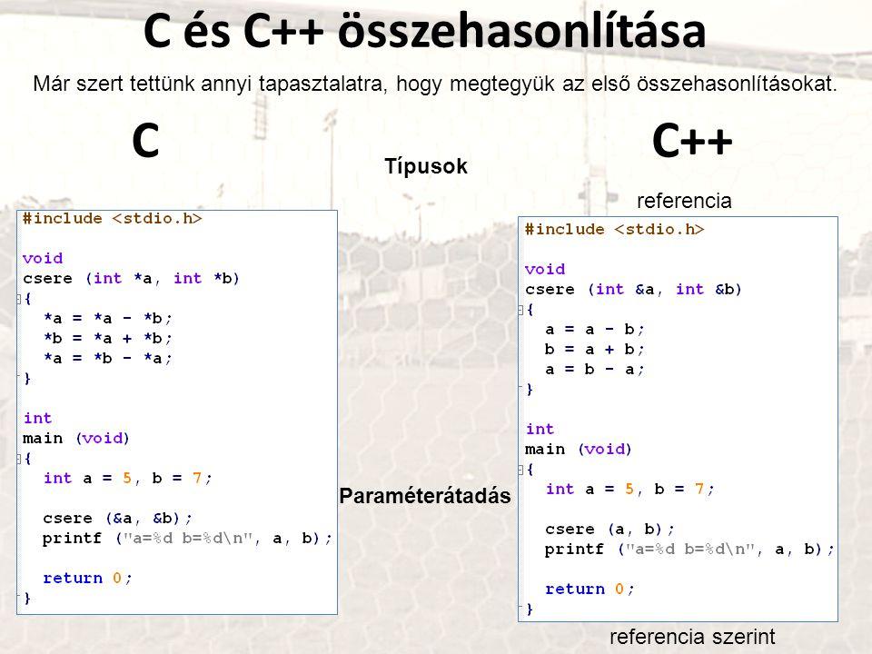 C és C++ összehasonlítása