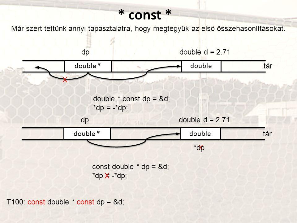 * const * Már szert tettünk annyi tapasztalatra, hogy megtegyük az első összehasonlításokat. dp. double d = 2.71.