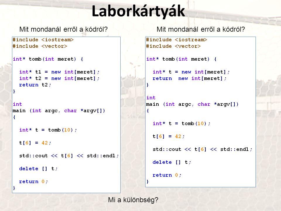 Laborkártyák Mit mondanál erről a kódról Mit mondanál erről a kódról