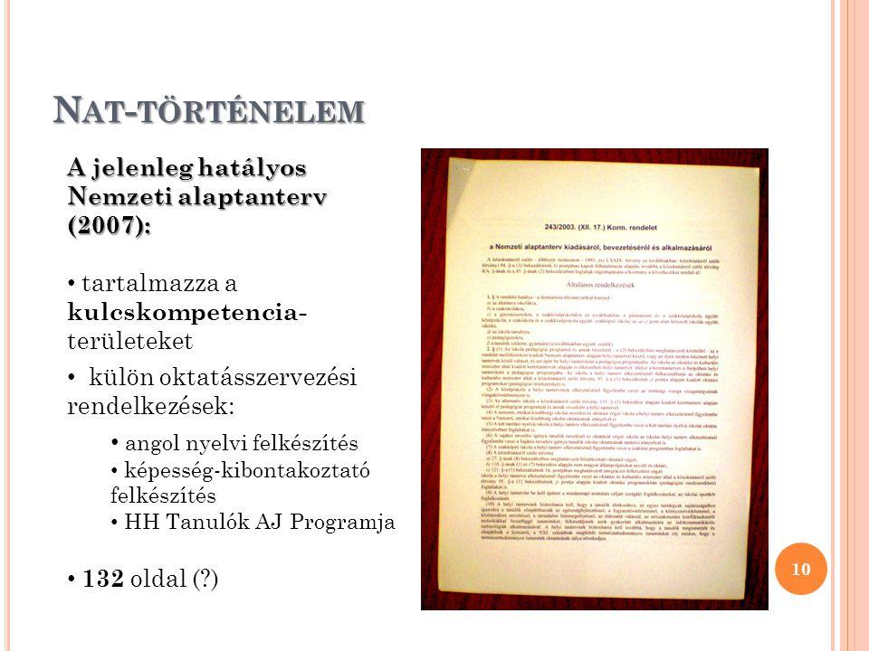 Nat-történelem A jelenleg hatályos Nemzeti alaptanterv (2007):