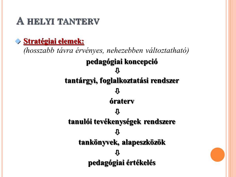 A helyi tanterv Stratégiai elemek: (hosszabb távra érvényes, nehezebben változtatható) pedagógiai koncepció.