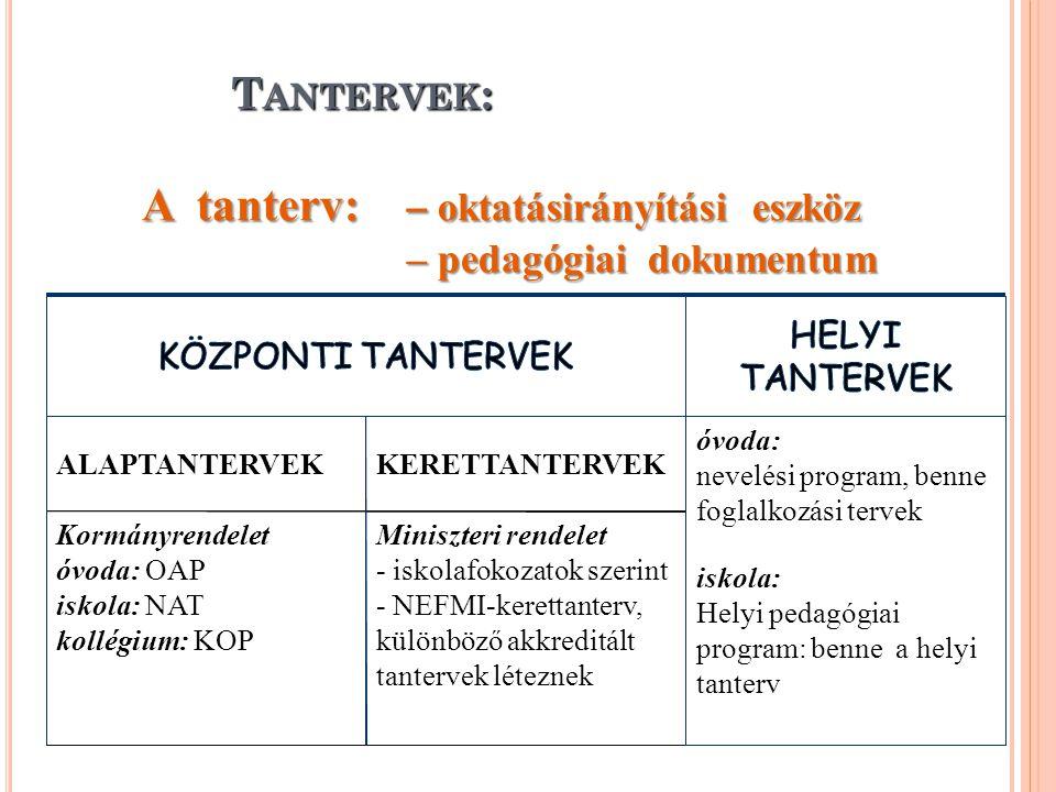 A tanterv: – oktatásirányítási eszköz