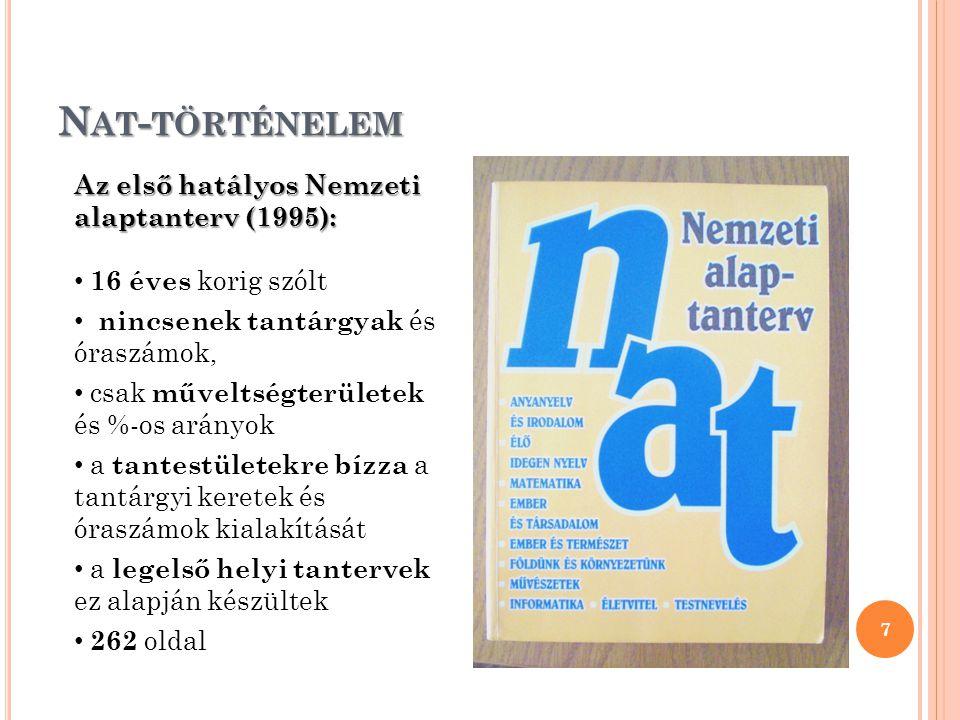 Nat-történelem Az első hatályos Nemzeti alaptanterv (1995):