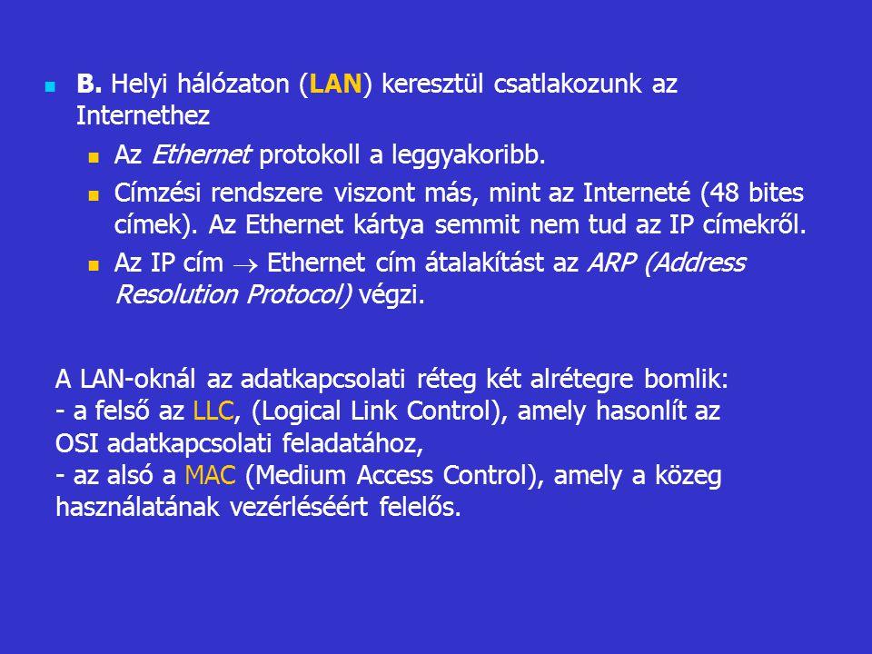 B. Helyi hálózaton (LAN) keresztül csatlakozunk az Internethez