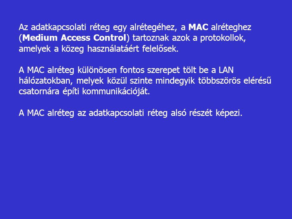 Az adatkapcsolati réteg egy alrétegéhez, a MAC alréteghez (Medium Access Control) tartoznak azok a protokollok, amelyek a közeg használatáért felelősek.
