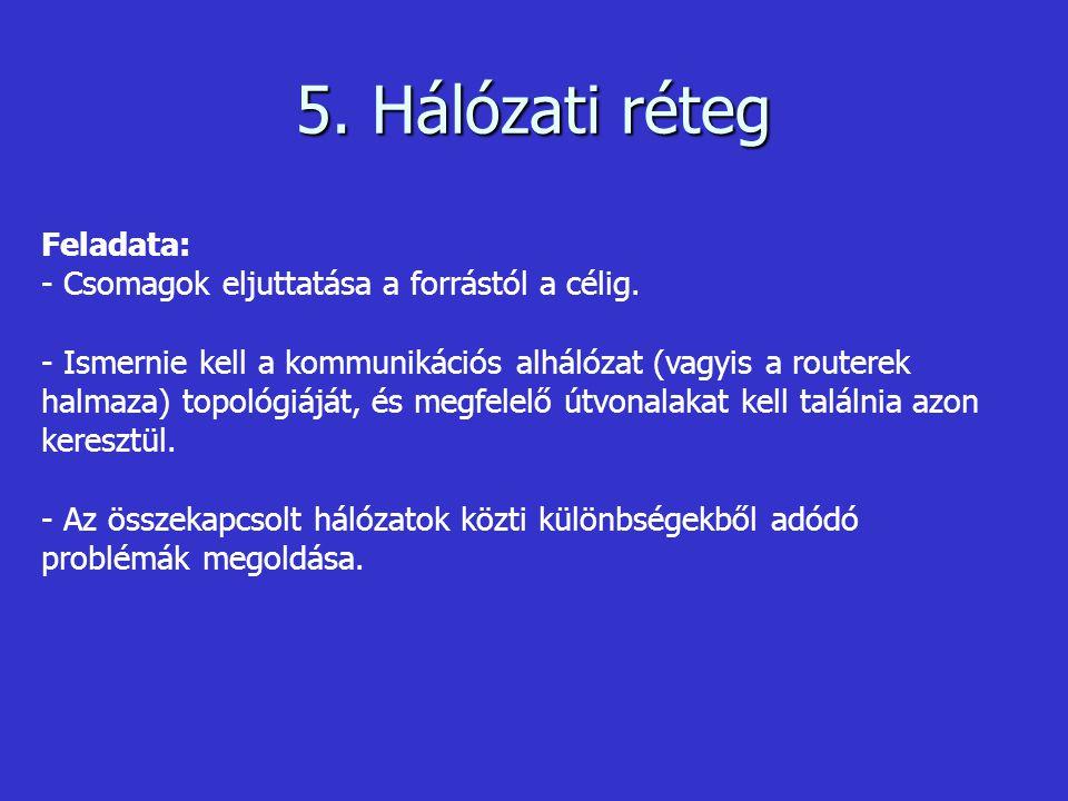 5. Hálózati réteg Feladata: