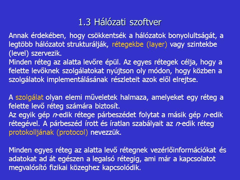 1.3 Hálózati szoftver