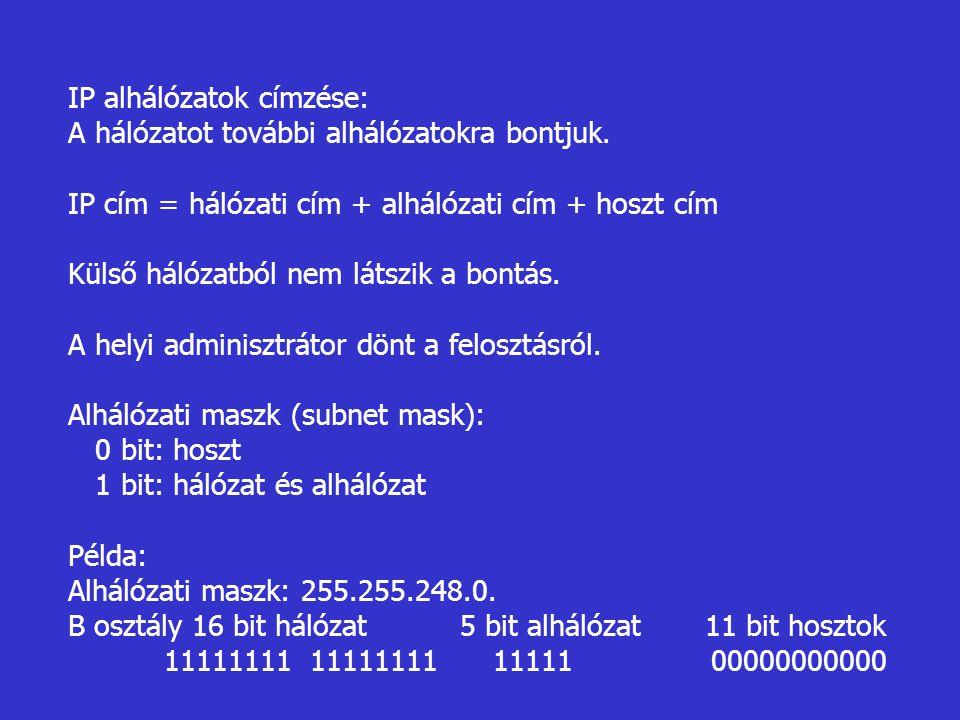 IP alhálózatok címzése:
