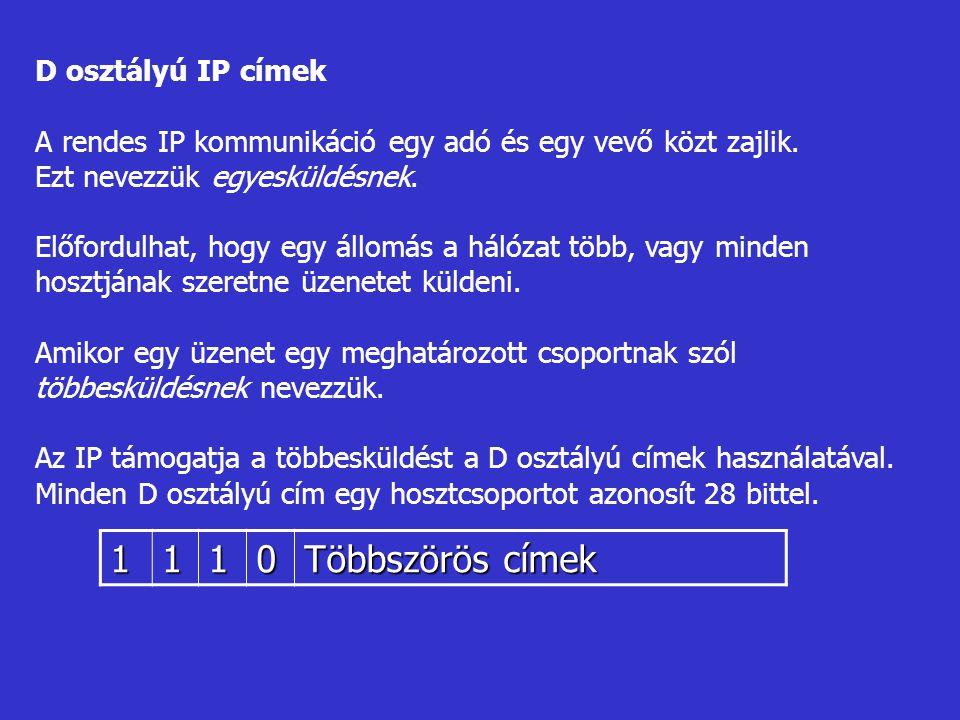 1 Többszörös címek D osztályú IP címek