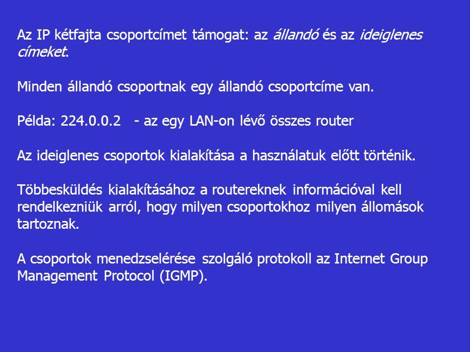 Az IP kétfajta csoportcímet támogat: az állandó és az ideiglenes címeket.