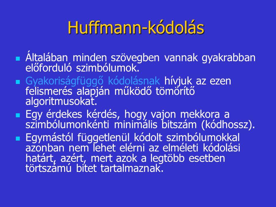 Huffmann-kódolás Általában minden szövegben vannak gyakrabban előforduló szimbólumok.