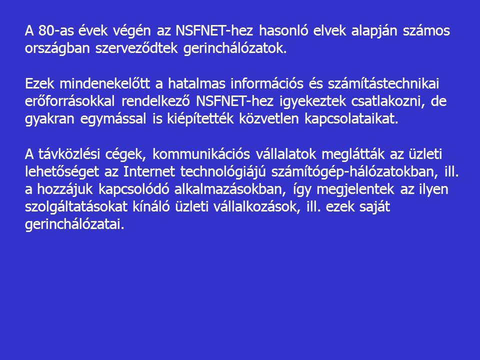 A 80-as évek végén az NSFNET-hez hasonló elvek alapján számos országban szerveződtek gerinchálózatok.