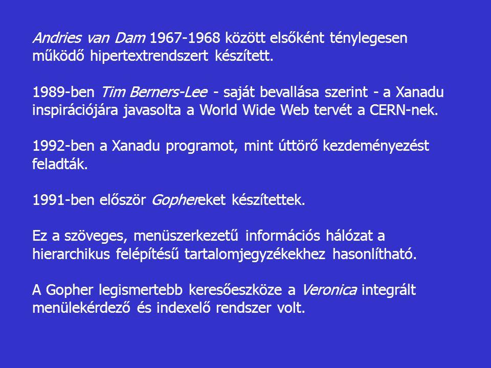 Andries van Dam 1967-1968 között elsőként ténylegesen működő hipertextrendszert készített.